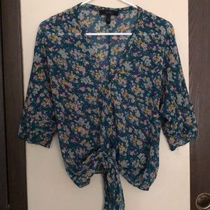 Large, Jessica Simpson sheer tie front blouse